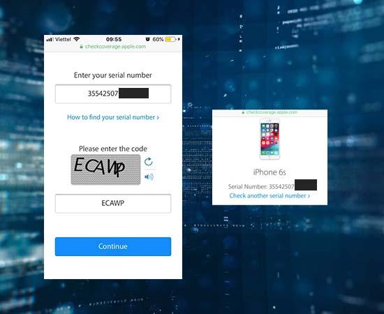 Bước 5: Truy cập vào trang checkcoverage.apple.com và nhập số MEID vừa copy vào để kiểm tra thông tin iPhone