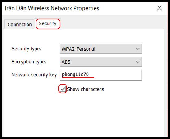Bước 6: Cuối cùng bạn chọn Security > Show charecters.